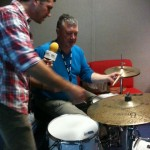 bbc radio Norfolk Lee Tallowin Teaching Stephen Bumfrey to drum